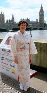 junko kikuchi in kimono at arigato event london